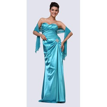 Turquoise Satin Prom Dress Pleated Bodice Strapless Sweetheart Neck