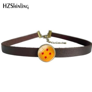 2018 New Black Brown Leather Choker Necklace Glass Photo Art Pendant Dragon Ball Stars Leather Necklaces Vintage Jewelry Round