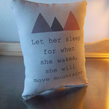 Baby girl pillow cotton throw pillow mountain cushion decor toddler girl gift