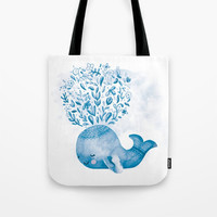 Cute Watercolor Whale Tote Bag by noondaydesign