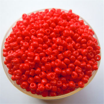 Free Shipping Hot Red Color 1000Pcs 2mm Czech Glass Seed Spacer Beads Jewelry Making DIY Pick 46 Colors
