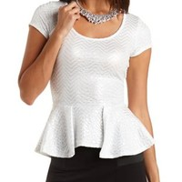 Metallic Sparkle Peplum Top by Charlotte Russe - White/Silver