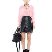 Mode Leather Skirt in Black
