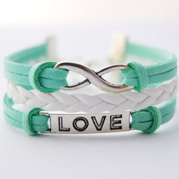 3 Strand Mint Green and White Infinity Love Faux Leather Braid Cord Bracelet (Adjustable Sizing)