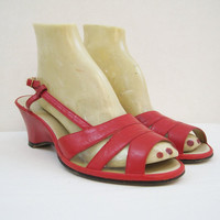 50s 60s Shoes Vintage Red Wedge Heel Slingback Sandals 8.5 9