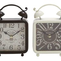 A.M.B. Furniture & Design :: Accessories :: Wall Art & Clocks :: Assorted Set of Two Black and White Metal Desk Clocks