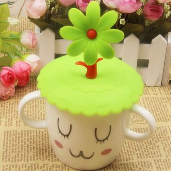 Cute Anti-dust Silicone Drink Cup Cover Coffee Tea Suction Seal Lid Cap Silicone Airtight Novelty cup Covers