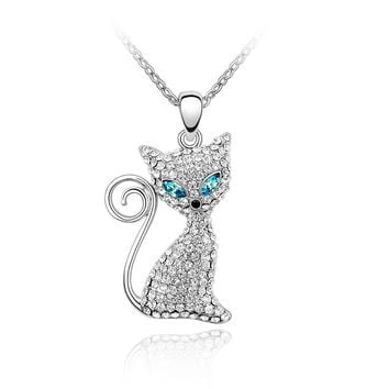 Cute Rhodium Plated Cat Necklaces Pendants Crystals from Swarovski Elements Gros Collier Femme