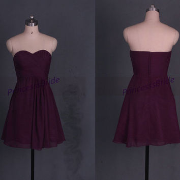Short eggplant chiffon bridesmaid dress in 2014,simple sweetheart women gowns hot,cheap cute dress for wedding party.