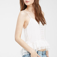 Embroidered Lace-Paneled Cami