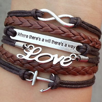 "anchor bracelet,love Bracelet, infinity bracelet, ""Where there is a will, there is a way"", Christmas gift - Best Chosen Gift"