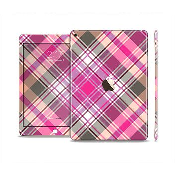 The Gray & Bright Pink Plaid Layered Pattern V5 Skin Set for the Apple iPad Air 2