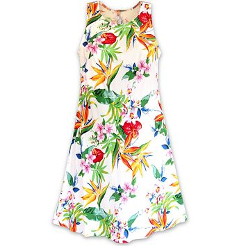 Jungle White Rhythm Hawaiian Dress