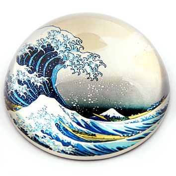 Great Wave Off Kanagawa Japanese Glass Desktop Paperweight by Hokusai 3W