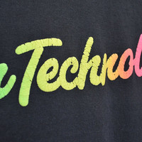 90s Rainbow T shirt - Black Touch Technology Tee - Retro Ironic Shirt