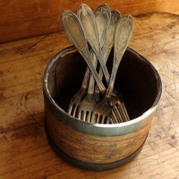 Vintage Silver Forks, Set of Six, Engraved, Holmes & Booth Hayden Silver Plate, Flatware