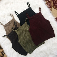 Slim Pure Color Sleeveless Short Spaghetti Strap Vests