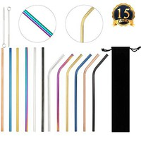 SUBANG 12 Pack Reusable Stainless Steel Straws Metal Drinking Straws with 2 Brushes and Carry Bag