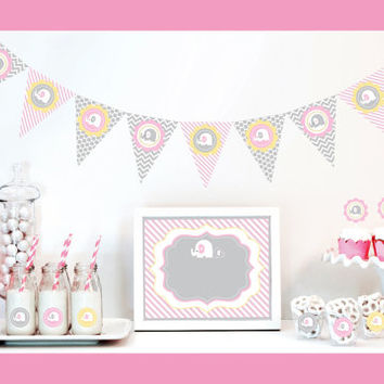 Elephant Baby Shower Decorations Supplies KIT Themes For Girls Pink Elephant Girl Baby Shower Decorations Baby Shower Themes (EB4000PEL)