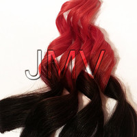 "12"" #1b Red Star Ombre Clip-In 100% human hair extensions Straight Multi-color"