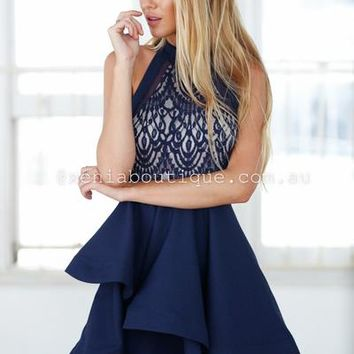 Wilde Willow Lace 2.0 Dress (Navy) | Xenia Boutique | Women's fashion for Less - Fast Shipping
