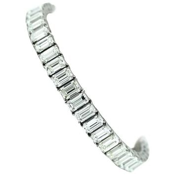 Harry Winston Straight Line Emerald Cut Diamond Tennis Bracelet 28 Carat