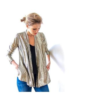 Metallic gold long sleeves Jacket with side pockets 2011