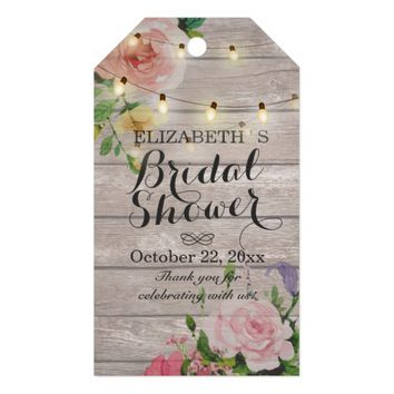 Rustic Wood Floral String Lights Bridal Shower Gift Tags