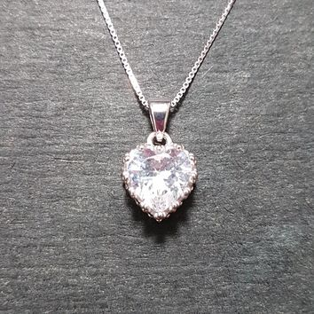 New 14k White Gold On 925 Queen Heart Crown Charm Pendant