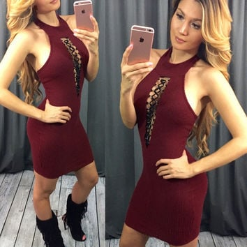 Red Wine Halter Bandage Sleeveless Dress