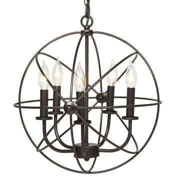 Industrial Vintage Metal Ceiling Chandelier With 5 Lights, Black