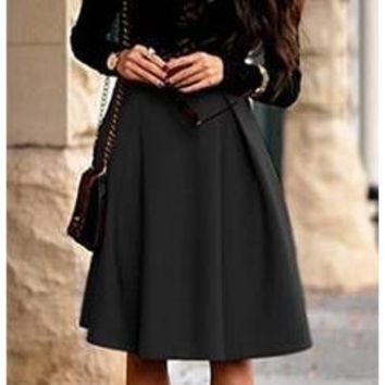 Black Stretch Knee Long Length Bell Flare A Line Skater Pleat Midi Skirt