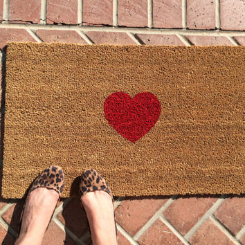 Be Still My Heart welcome mat. Hand painted, customizable doormat creates a sweet entryway.