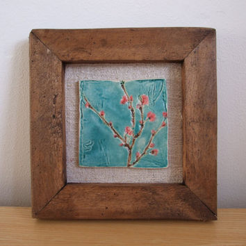 Winter flowering blossom tile on vintage by damsontreepottery