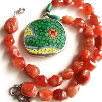Chinese Porcelain & Carnelian Pendant Necklace, Turquoise, Fresh Water Pearl, Vintage