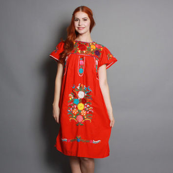 70s Red MEXICAN DRESS / Bright Embroidered Hippie Ethnic Mini Dress, xs-s