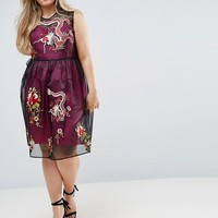 ASOS CURVE PREMIUM Embroidered Mesh Midi Skater Dress with Contrast Lining at asos.com