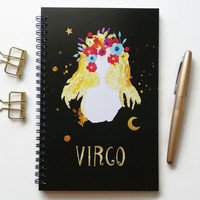 Writing journal, spiral notebook, bullet journal, black sketchbook, cute notebook, blank lined grid, zodiac sign, astrology - Virgo
