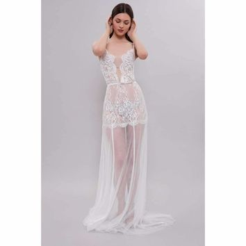 LonTulle Bridal Nightgown With Lace F31