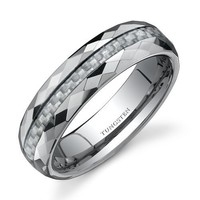 Faceted Edge White Carbon Fiber 6mm Comfort Fit Mens Tungsten Wedding Band Ring Size 8.5