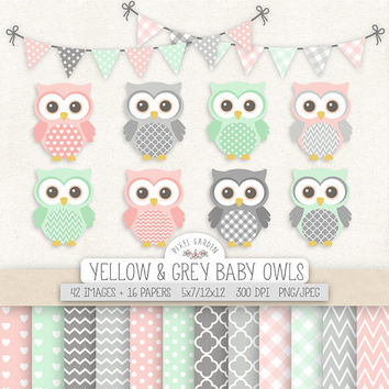 SALE. Baby Owl Clipart. Pink, Mint, Gray Nursery, Baby Shower Clipart. Pastel Digital Paper in Chevron, Polka Dot, Gingham. Pink Mint Owls.