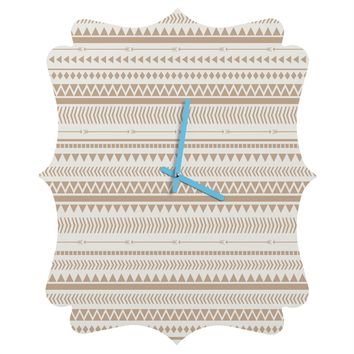 Allyson Johnson Tan Aztec Quatrefoil Clock