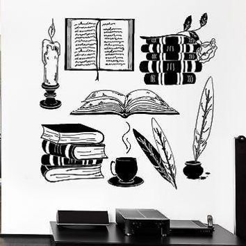 Wall Decal Books Vintage Library Bookworm University Education Vinyl Unique Gift (ig2548)