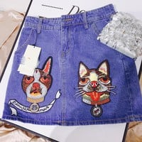 GUCCI summer new heavy factory dog head embroidery wash water denim skirt women's skirt hot style
