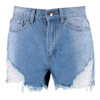 Angled Distressed Denim Mom Shorts | Boohoo