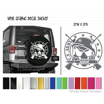 US Army with Skull and Guns Vinyl Graphic Decal Sticker || Universal Sizing