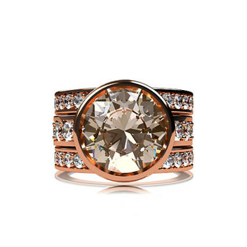Engagement ring set, 3.64ct morganite ring, white sapphire, peach morganite, morganite engagement, wedding band, sapphire wedding, gold