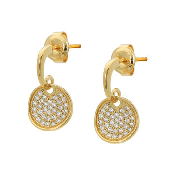 Fronay Co, 18k Gold Plated Silver Dangling Cubic Zirconia Disc Stud Earrings