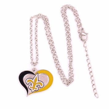 Drop shipping enamel single-sided new orleans saints Swirl Heart Football team logo charm with link chain sport Necklace