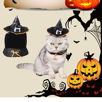 Cat Halloween Christmas Party Costumes magic cloak mantle dress Magic Hat suit clothes Pet Puppey cat Product For Small Dog Cat